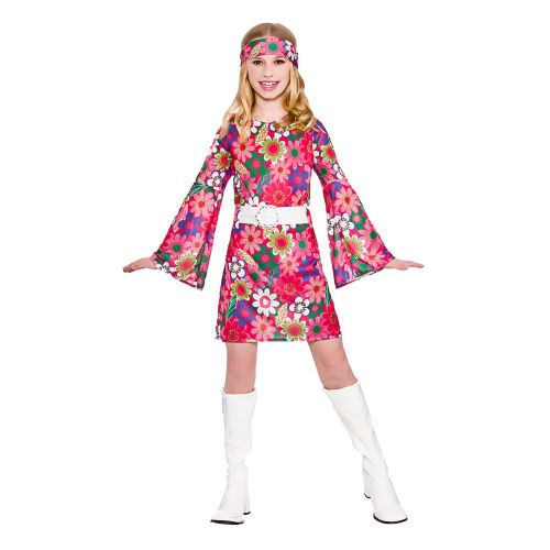 Childrens Girls 60s Retro Gogo Girl Costume for 60s Rock N Roll Fancy Dress